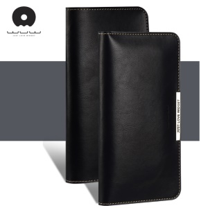 WUW P18 Light Luxury All-match Wallet Leather Pouch for iPhone 7 Plus / Samsung S8 Etc, Size: 165 x 8mm - Black