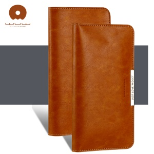 WUW P18 Light Luxury All-match Leather Wallet Case for iPhone 8 Plus/7 Plus / Samsung S8 Etc, Size: 165 x 80mm - Brown