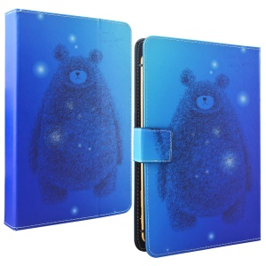Universal Wallet Leather Tablet Case for iPad Pro 10.5 (2017) / Samsung Tab S3 9.7 Etc, Size: 265 x 177mm - Blue Background Bear