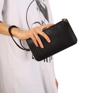 Multi-functional Grid Pattern Leather Wallet Handbag Phone Holder Purse Shoulder Bag - Black