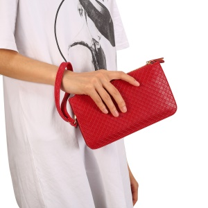 Grid Pattern PU Leather Wallet Handbag Phone Pouch Single Shoulder Bag for iPhone X/8 - Red