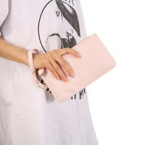 Multi-functional Grid Pattern Single Shoulder Bag PU Leather Handbag Smartphone Pouch Bag for iPhone X/8 - Pink