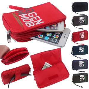 Universal Zipper Pouch Bag for iPhone 6s Plus/Samsung Galaxy S7 edge etc, Size: 15.5 x 9 x 1cm - Red
