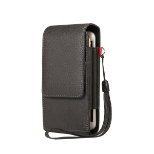 Card Slots Lychee Vertical Flip Leather Case Belt Clip Holster for iPhone X 8 7 / Samsung S9 S8, Size: 15x7.5x3.5cm - Black