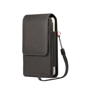 Card Slots Lychee Vertical Flip Leather Holster Case for iPhone 8 / LG G5, Size: 15.5x8x3.5cm - Black