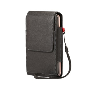 Lychee Vertical Leather Holster Case with 2 Card Slots for iPhone 8 Plus / Samsung S9+ S8, Size: 16x8.5x3.5cm - Black