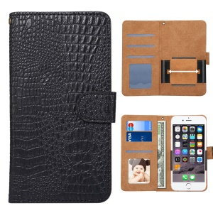 Crocodile Texture Universal Wallet Leather Flip Case with 360 Degree Rotary Clip for iPhone 8 Plus Size: 16.3 x 8.3 x1.8cm - Black