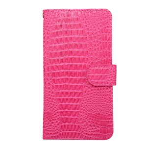 Crocodile Texture Universal Wallet Leather Phone Cover with Full Degree Rotary Clip for iPhone 8 Plus Size: 16.3 x 8.3 x 1.8cm - Rose