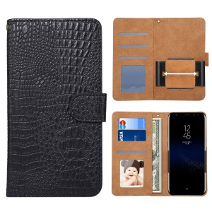Universal Stretchable Clip Holder Crocodile Texture Wallet Leather Case for Samsung Galaxy S9 S8 Etc, Size: 15.7 x 8 x 1.8cm - Black