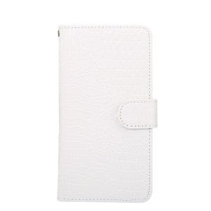 Universal Extendable Clip Crocodile Texture Leather Wallet Cover for Samsung Galaxy S9 S8 Etc, Size: 15.7 x 8 x 1.8cm - White