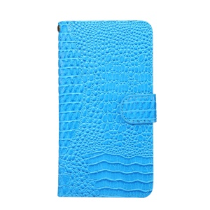 Universal Stretchable Clip Crocodile Texture Wallet Leather Phone Case for Samsung Galaxy S9 S8 Etc, Size: 15.7 x 8 x 1.8cm - Blue