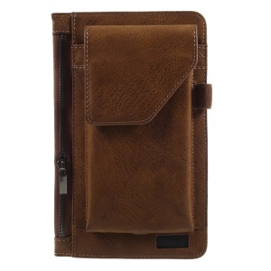 6.3 inch Multi-function Belt Clip Hook Loop Pouch Cell Phone Case for iPhone 7 Plus/Samsung Galaxy S8 Plus - Brown