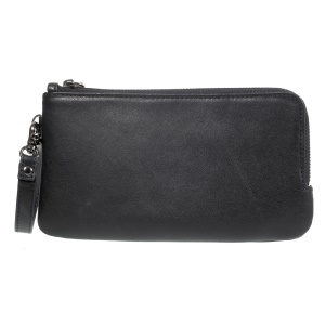 Genuine Leather Zipper Wallet Funda de teléfono móvil para Samsung Galaxy Nota 8 / iPhone 8 Plus / 7 Plus, Huawei P10 Etc. - Negro