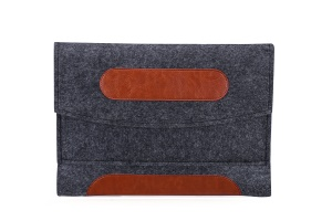 Universal Felt Sleeve Bag PU Leather Cover for 7-8 Inch Tablet, Size: 23.5x1x16.7cm - Dark Grey
