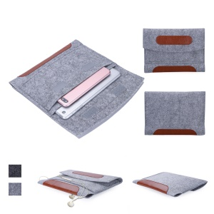 Felt Sleeve Universal Bag PU Leather Cover for 7-8 Inch Tablet, Size: 23.5x1x16.7cm - Light Grey
