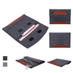 Universal Felt Sleeve Bag Velcro Closure Tablet Pouch Bag for iPad Pro 10.5 inch (2017) etc. - Dark Grey