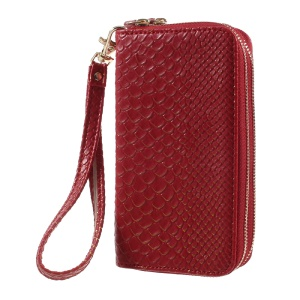 Universal Zipper Wallet Leather Cover with Strap for iPhone 6 /6s /7 - Fish Scale Texture / Red