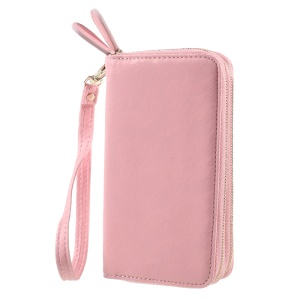 Universal Zipper Wallet Leather Case with Strap for iPhone 6 /6s /7 - Lace Patten / Pink