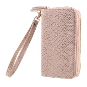 Universal Zipper Wallet Leather Casing with Strap for iPhone 6 /6s /7 - Fish Scale Texture / Pink