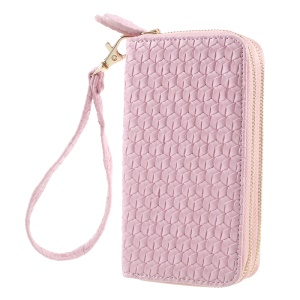 Universal Zipper Wallet Leather Shell with Strap for iPhone 6 /6s /7 - Woven Texture / Pink