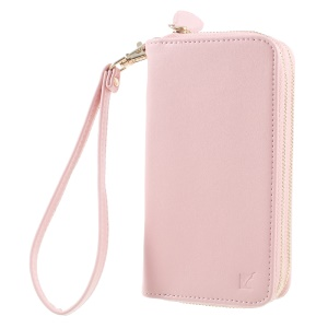 For iPhone 6 /6s /7 Universal Zipper Wallet Leather Cover with Strap - Smooth Surface / Pink