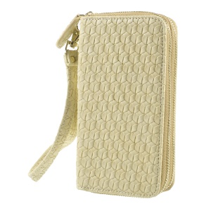 For iPhone 6 /6s /7 Universal Zipper Wallet Leather Case with Strap - Woven Texture / Beige