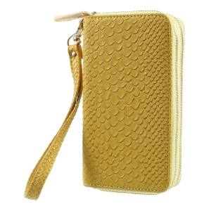 For iPhone 6 /6s /7 Universal Zipper Wallet Leather Casing with Strap - Fish Scale Texture / Gold