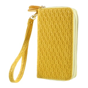 For iPhone 6 /6s /7 Universal Zipper Wallet Leather Phone Casing with Strap - Woven Texture / Yellow