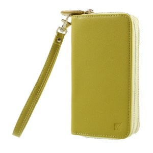 Universal Zipper Wallet Leather Phone Accessory Cover with Strap for iPhone 6 /6s /7 - Smooth Surface / Yellowgreen