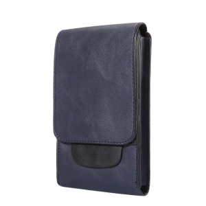 Crazy Horse Three Layers Leather Holster Case for iPhone 8 Plus/7 Plus / Samsung Galaxy S9+/S8+ Size: 17x10x2.5cm - Dark Blue