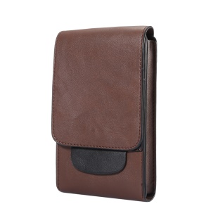 For iPhone 8 Plus / Samsung Galaxy S9+/S8+ Crazy Horse Vertical Flip Leather Holster Case Size: 17x10x2.5cm - Brown