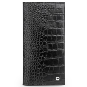 QIALINO Cowhide Leather Crocodile Skin Wallet Pouch Case for iPhone 7 Plus, Size: 9.5 x 18.4cm - Black