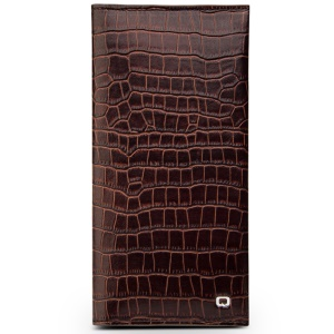QIALINO Cowhide Leather Bamboo Grain Wallet Pouch Cover for iPhone 7 Plus, Size: 9.5 x 18.4cm - Brown