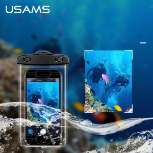 USAMS for iPhone 6s/6 etc. IPX8 Waterproof Fingerprint Identification Bag with Strap - Black