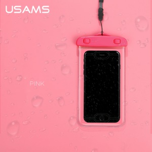 USAMS IPX8 Waterproof Fingerprint Identification Bag with Strap for iPhone 6s/6 etc. - Pink
