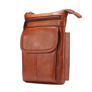 Vertical Top Layer Cowhide Leather Protection Pouch Case with Shoulder Strap 6.5 inch for Samsung Galaxy Note 8 - Brown