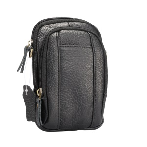 Litchi Texture Genuine Leather Zipper Sling Bag Waist Bag for iPhone X/Samsung Galaxy Note 8, Size: 10.5 x 17cm - Black