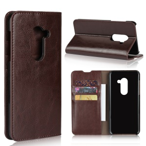 Crazy Horse Genuine Leather Case with 3 Card Slots for AQUOS Zero - Coffee