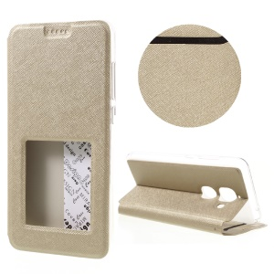 Cross Texture View Window Leather Flip Cover for LeEco Le Max 2 - Gold