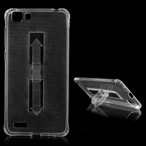 Transparent Anti-watermark TPU Case with Foldable Kickstand for Vivo Y35