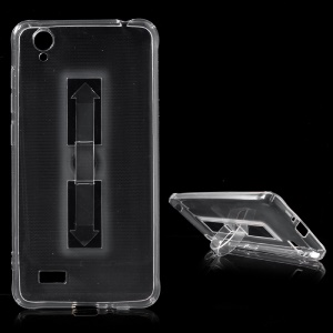 Soft Clear TPU Gel Phone Protective Case with Portable Kickstand for Vivo Y31