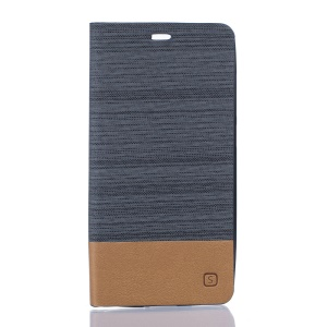 Bi-color Linen Leather Stand Case for Elephone P8000 - Dark Grey