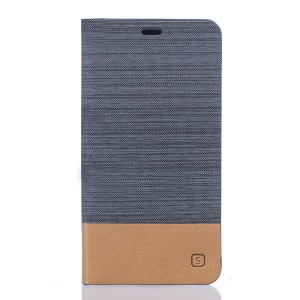 Two-color Linen Texture Leather Stand Case for Elephone P9000 - Dark Grey