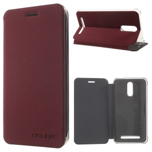 Flip Stand Leather Protector Case Cover for Homtom HT17 - Wine Red