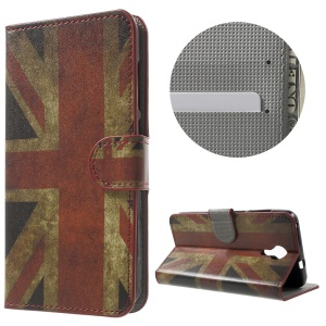 PU Leather Card Holder Case for Wileyfox Swift - Vintage UK Flag