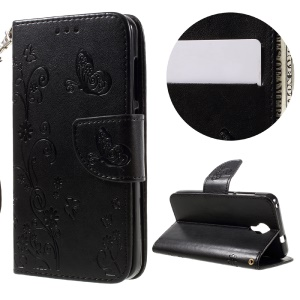 Imprint Flower Leather Wallet Stand Case for Wileyfox Swift with Wrist Strap - Black