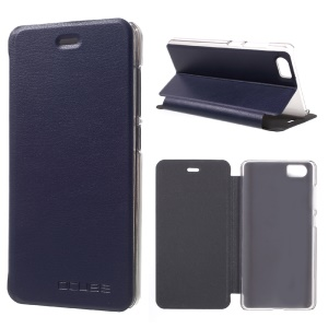 Lychee Skin Leather Phone Case with Stand for Bluboo Picasso - Dark Blue