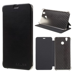For Oukitel U7 Plus Litchi Texture Leather Stand Phone Case - Black