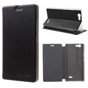 Litchi Texture Leather Flip Stand Case for Oukitel C4 - Black