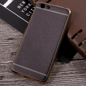 Lychee Grain Leather Coated Plating TPU Phone Case for Vivo Y53 - Black